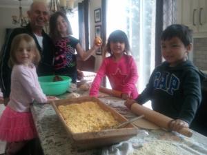 Children making flaounes